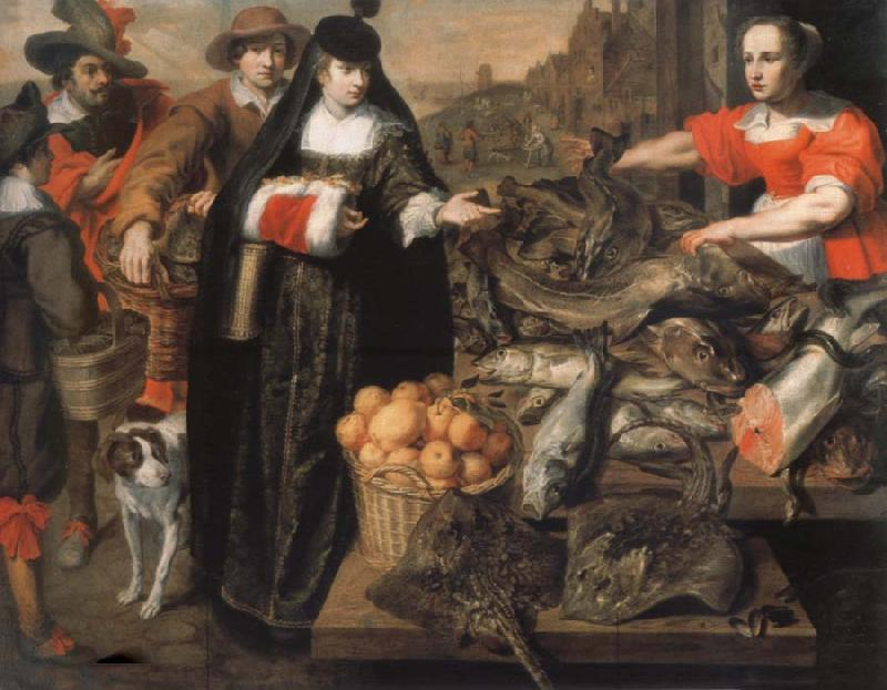 Adriaen Van Utrecht The old fish market in Antwerp