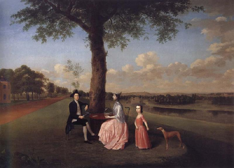 Arthur Devis Henry Fiennes Clinton,9th Earl of Lincoln,with his wife,Catherine and his son,George,on the great terrace at Oatlands