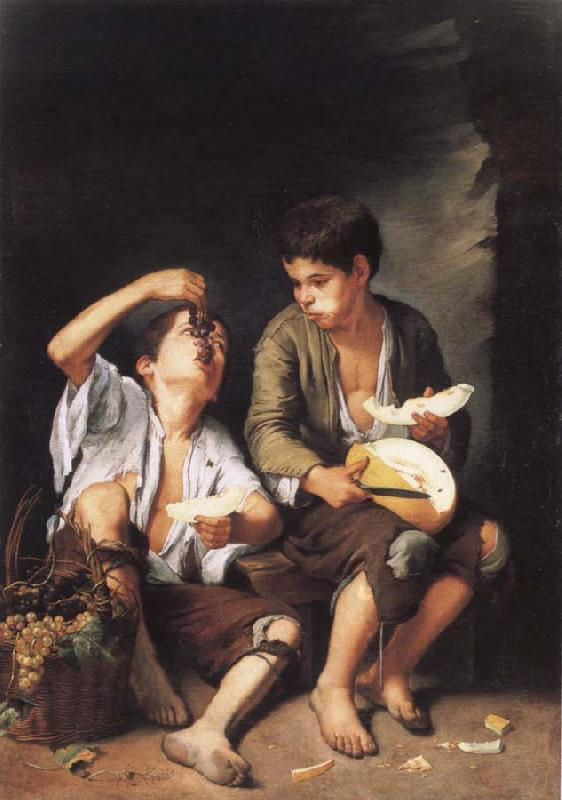 Bartolome Esteban Murillo Grapes and melon eater