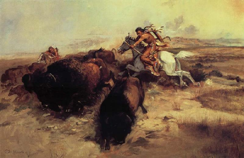 Charles M Russell Buffalo Hunt