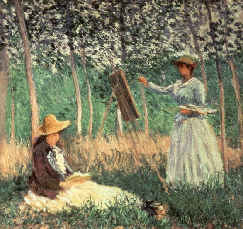 Claude Monet In the woods at Giverny Blanche Hoschede at her Easel with Suzanne Hoschede Reading