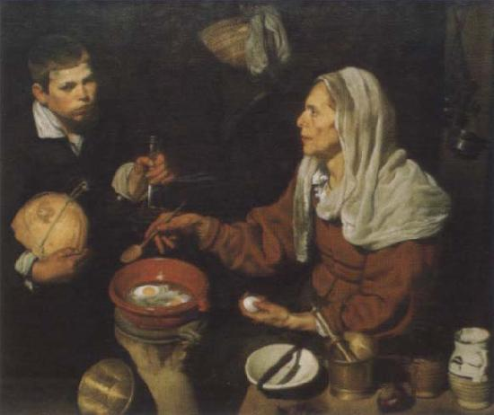 Diego Velazquez Old woman in the eggs roast