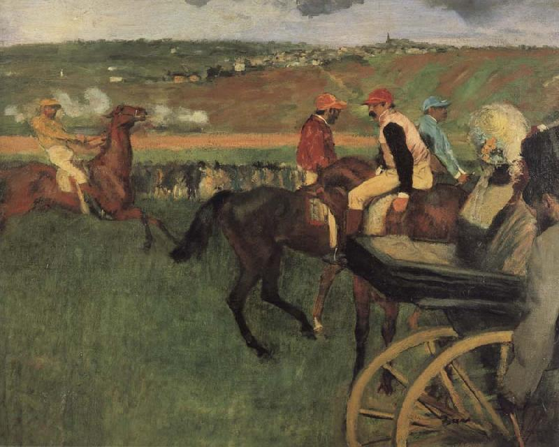 Edgar Degas On the race place Jockeys next to a carriage