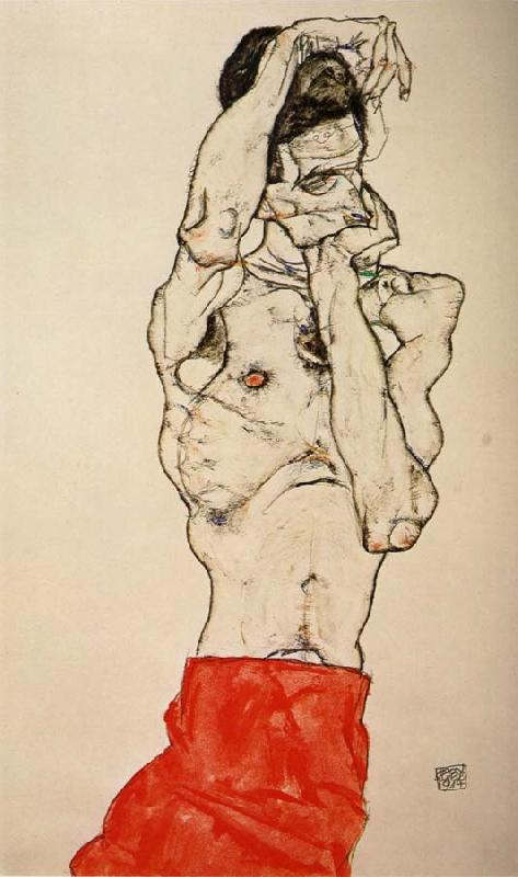 Egon Schiele Male nude with a Red Loincloth