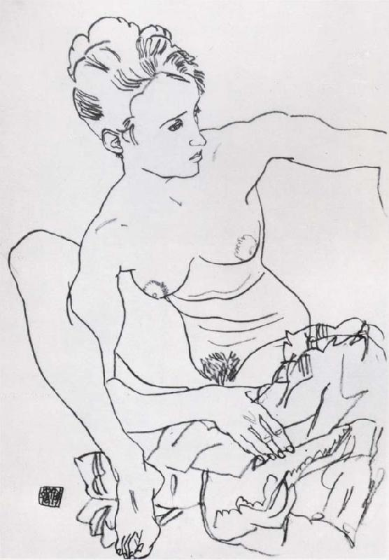 Egon Schiele Seated Female nude with drapery