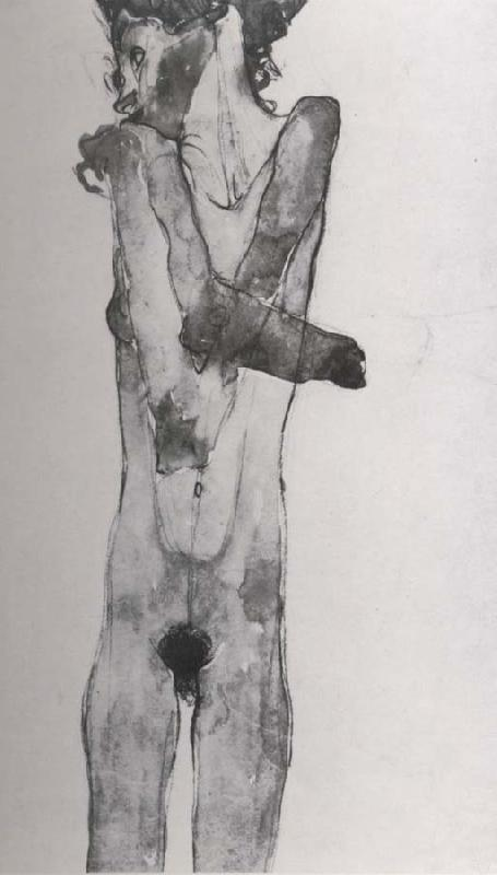Egon Schiele Standing female nude with crossed arms oil painting image