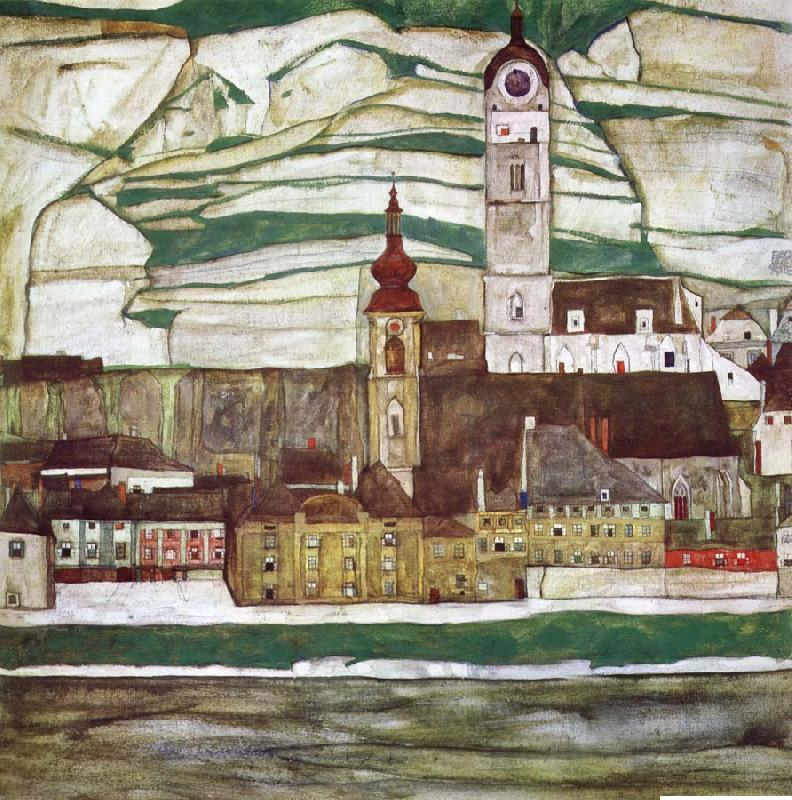 Egon Schiele Stein on the Danube with Terraced Vineyards
