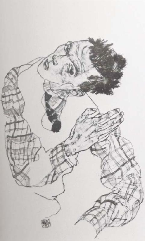 Egon Schiele Self Portrait with Checkered shirt