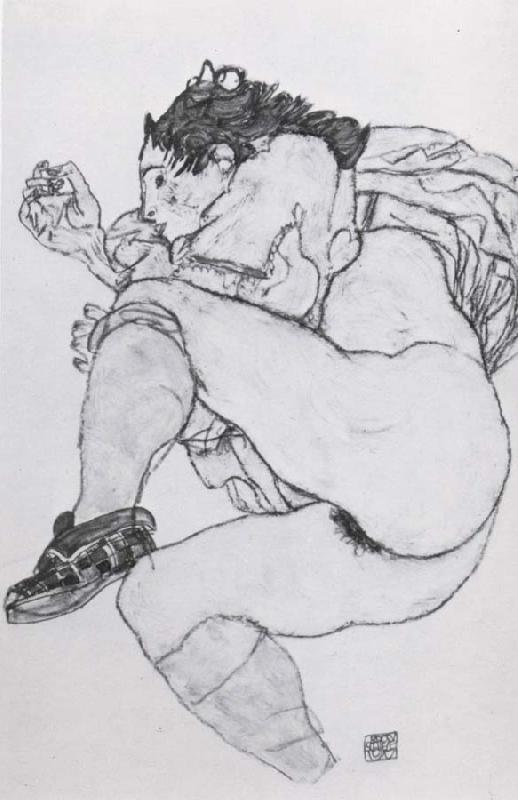 Egon Schiele Recumbent Female Nude with left leg drawn up