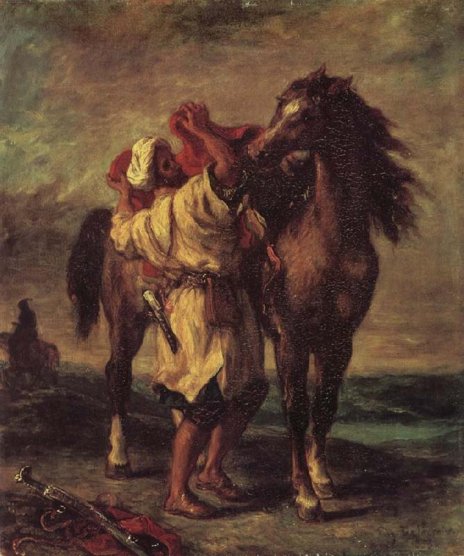 Eugene Delacroix Moroccan in the Sattein of its horse