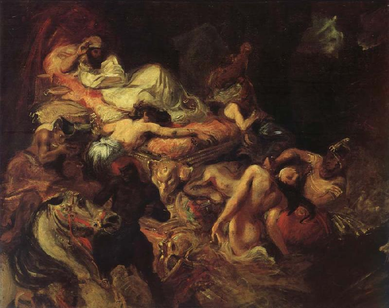 Eugene Delacroix Stgudie to the death of the Sardanapal