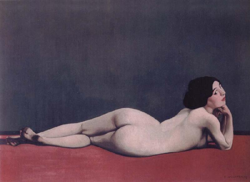 Felix Vallotton Reclining Nude on a Red Carpet