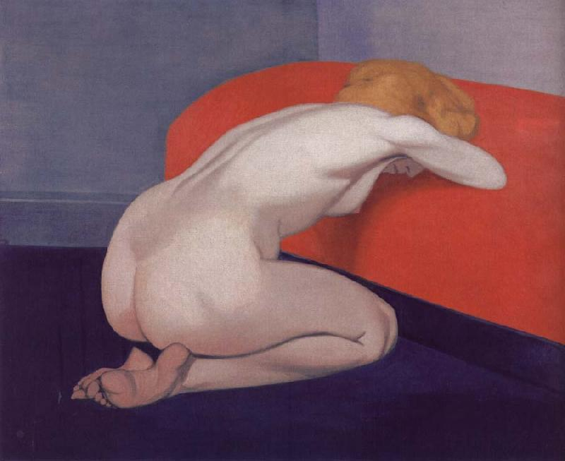Felix Vallotton Nude Kneeling against a red sofa