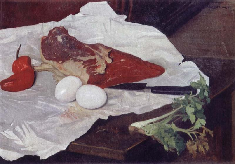 Felix Vallotton Still life with Meat and eggs