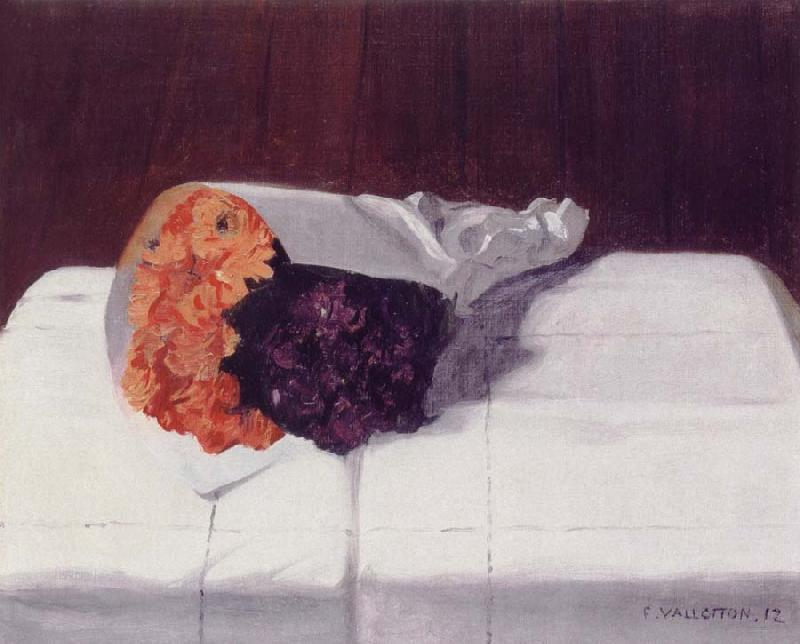 Felix Vallotton Still life with Bouquet of Marigolds and Violets