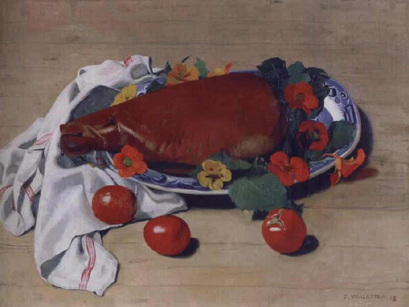 Felix Vallotton Still life with Ham and Tomatoes