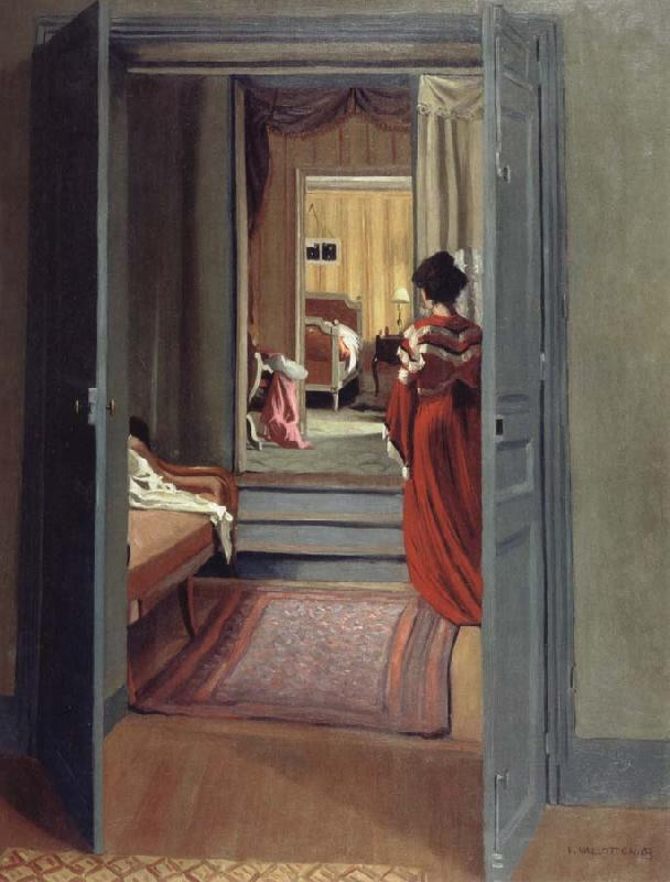 Felix Vallotton Interior with Woman in red