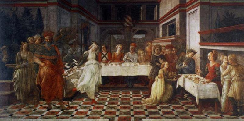 Fra Filippo Lippi scenes out of life Johannes of the Taufer the guest meal of the here ode oil painting image