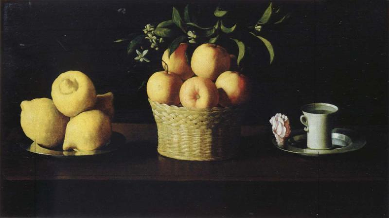Francisco de Zurbaran Style life with lemon of orange and a rose