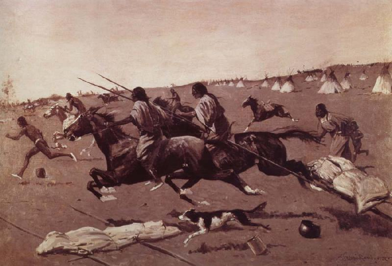 Frederick Remington Oil undated Geronimo Fleeing from camp
