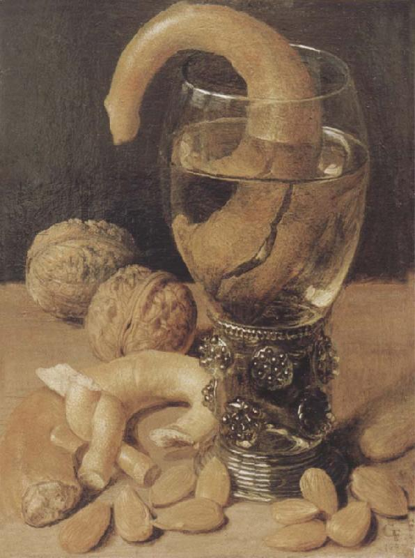Georg Flegel Style life with wine glass and pretzel