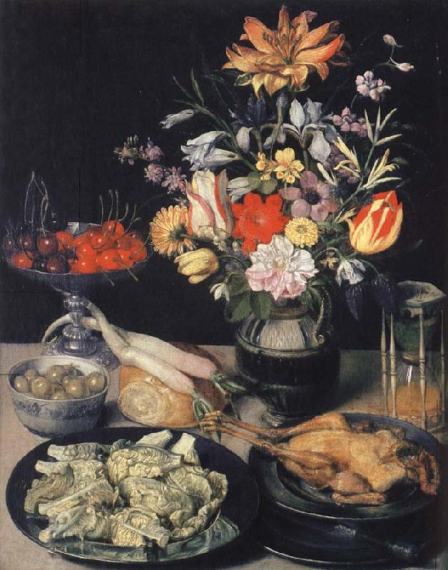 Georg Flegel Style life table with flowers, Essuaren and Studenglas