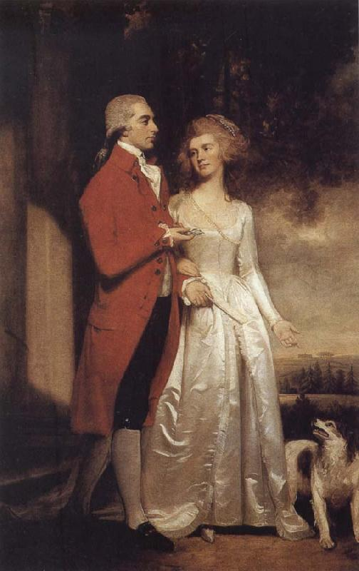 George Romney Sir Christopher and Lady Sykes strolling in the garden at Sledmere