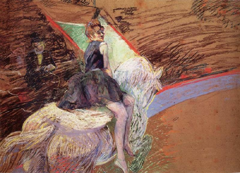 Henri  Toulouse-Lautrec in the circus Fernando, horseman on Weibem horse