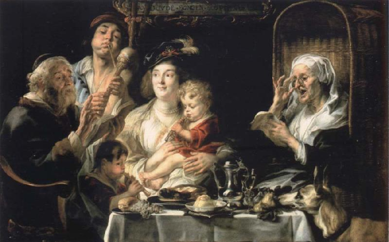 Jacob Jordaens How the old so pipes sang would protect the boys