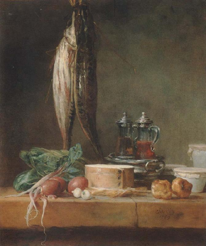 Jean Baptiste Simeon Chardin Style life with fish, Grunzeug, Gougeres shot el as well as oil and vinegar pennant on a table