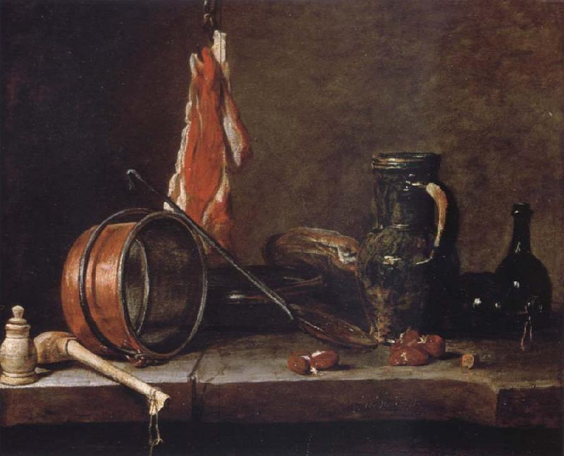 Jean Baptiste Simeon Chardin Uppige food with cook utensils
