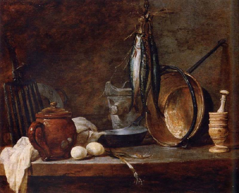 Jean Baptiste Simeon Chardin Lean food with cook utensils
