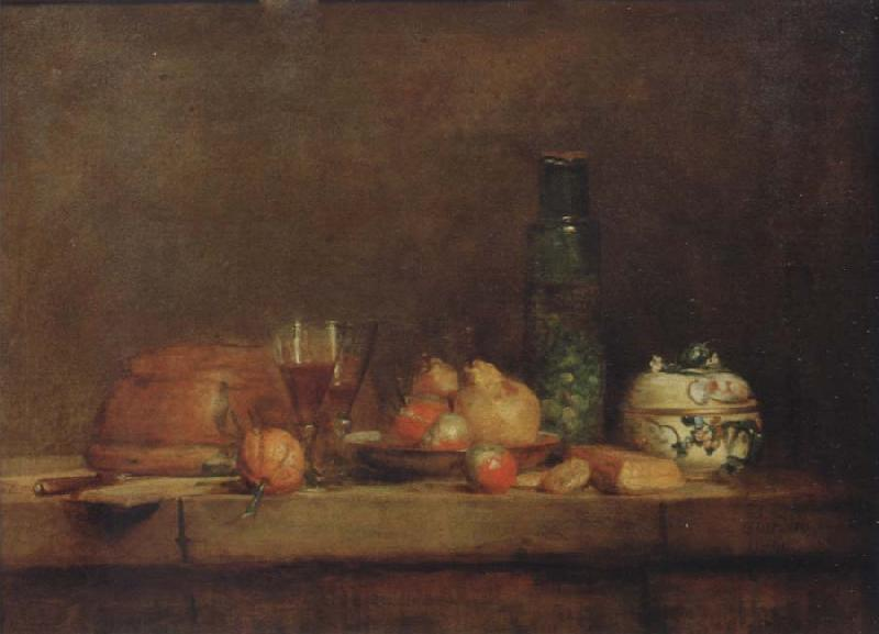 Jean Baptiste Simeon Chardin Style life with olive glass