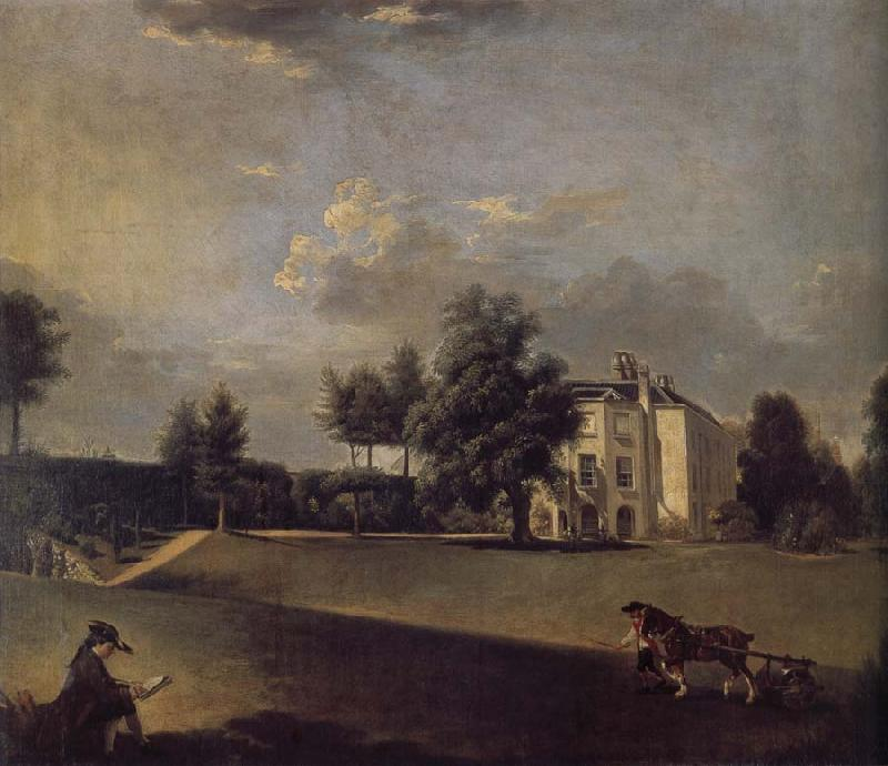 Johann Zoffany A view of the grounds of  Hampton House