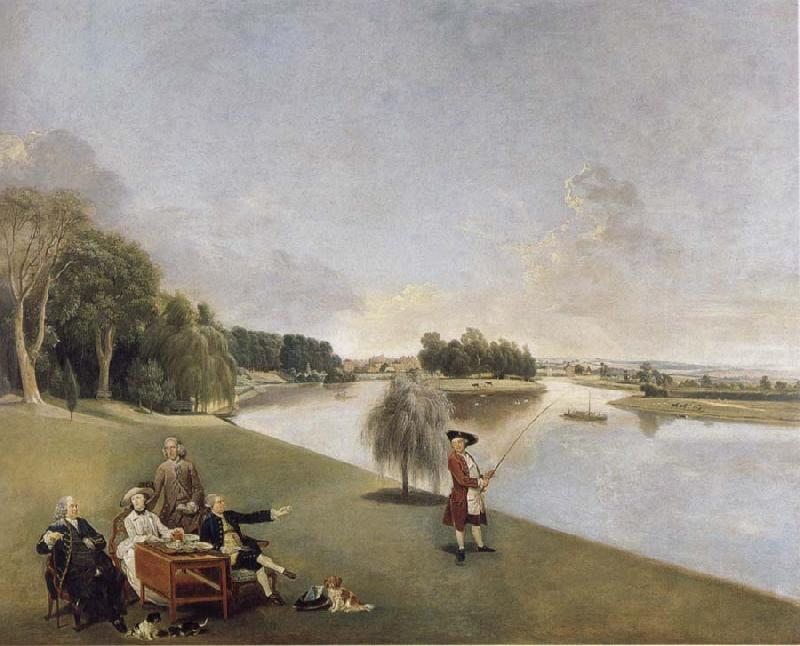 Johann Zoffany A View of the grounds of Hampton House with Mrs and Mrs Garrick taking tea oil painting image