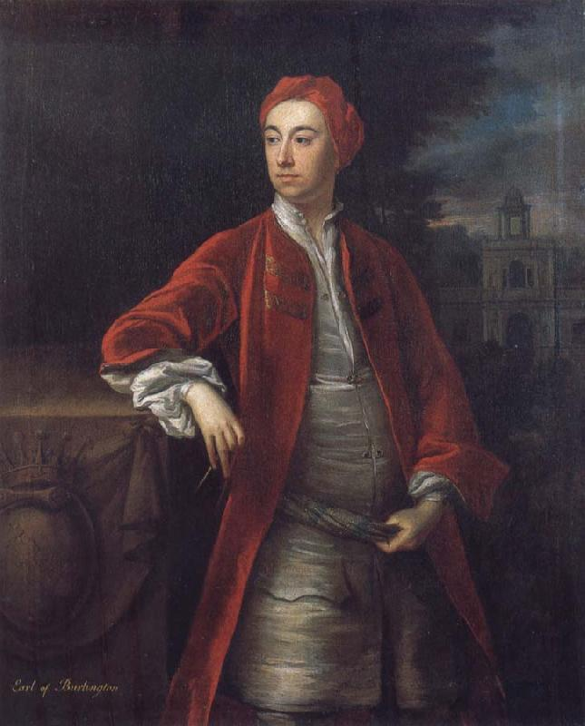 Jonathan Richardson Richard Boyle 3rd Earl of Burlington,with the Bagnio at Chiswick House,Middlesex