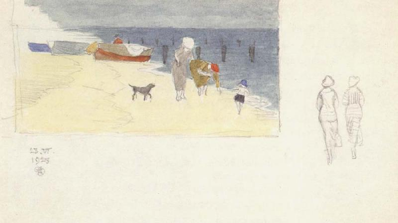 Joseph E.Southall Shore Scene,Southwold-Idea for a Painting
