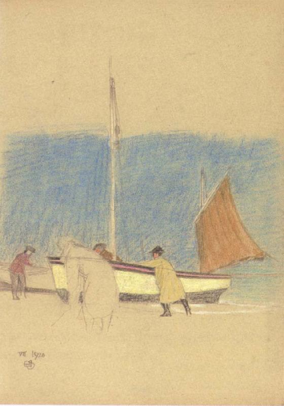 Joseph E.Southall Fishermen and Boat on the Shore