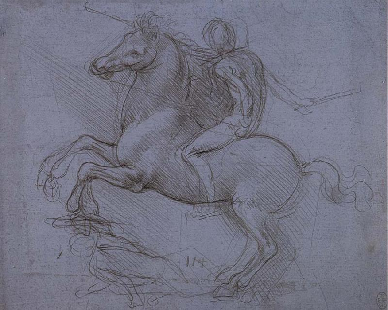 LEONARDO da Vinci Study fur the Sforza monument