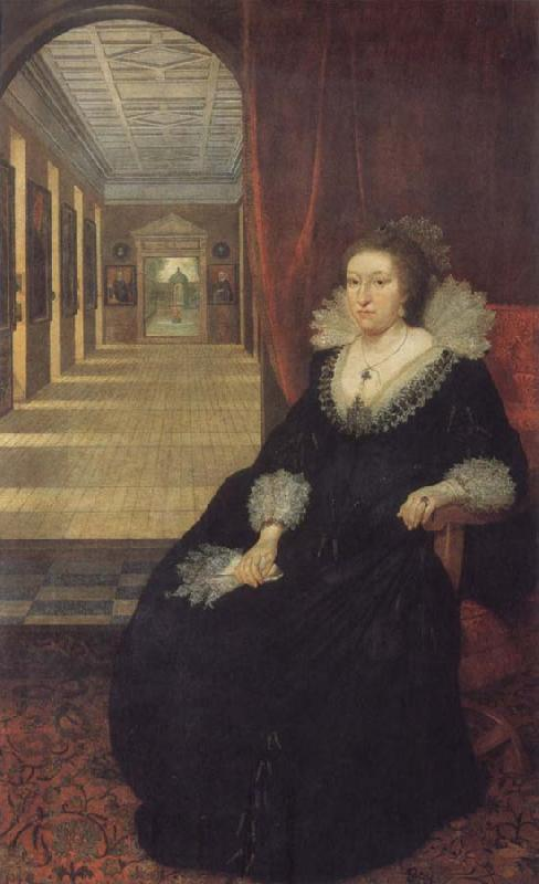 Mytens, Daniel the Elder Alathea Talbot Countess of Arundel,sitting before the picture gallery at Arundel House