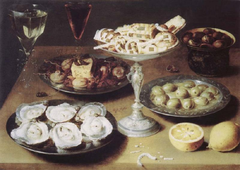 Osias Beert Style life with oysters confectionery and fruits