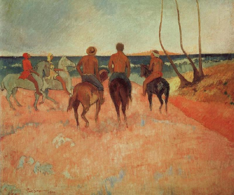 Paul Gauguin Horseman at the beach oil painting image