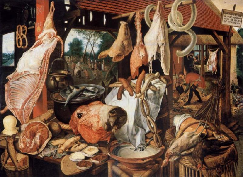 Pieter Aertsen Butcher sale state with flight nacb Agypten