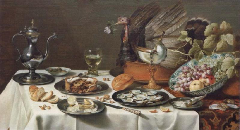Pieter Claesz Style life with turkey