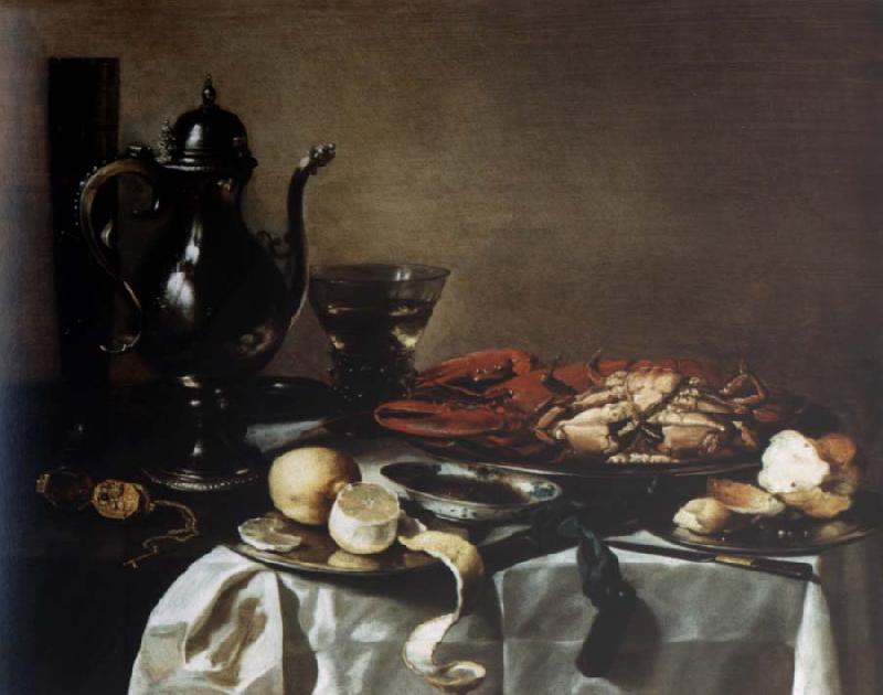 Pieter Claesz Style life with lobster and crab