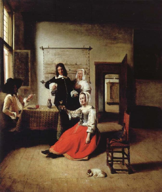 Pieter de Hooch Weintrinkende woman in the middle of these men