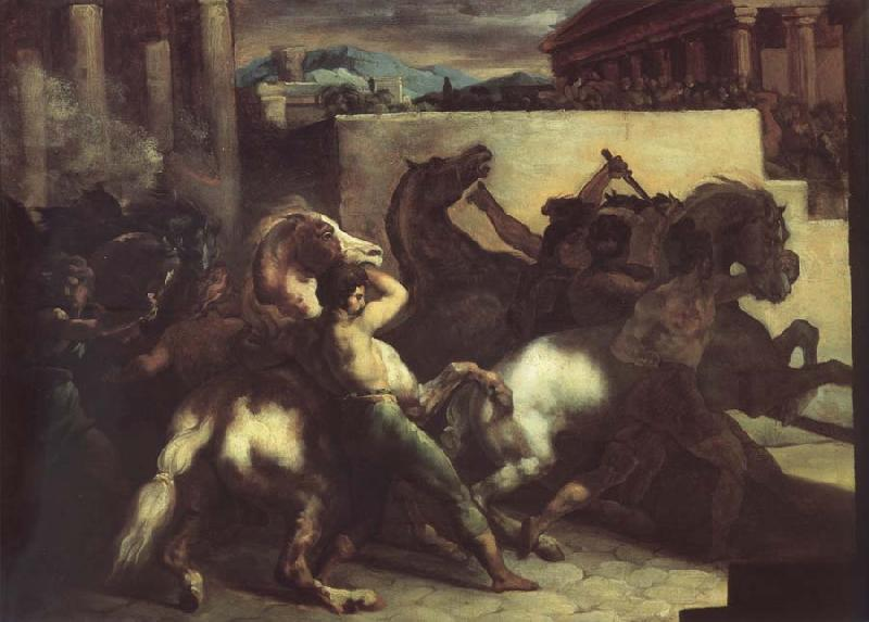 Theodore   Gericault The race of the wild horses