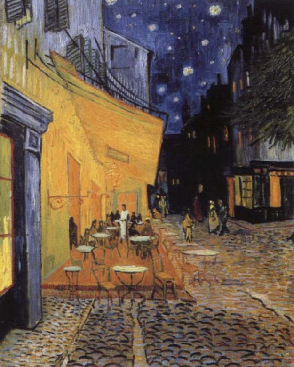 Vincent Van Gogh cafe terrace at the Place you forum in Arles in night oil painting image