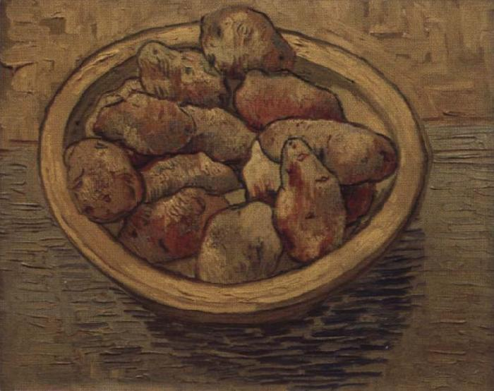 Vincent Van Gogh Style life with potatoes in a Schussel