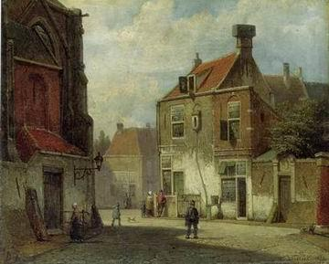 unknow artist European city landscape, street landsacpe, construction, frontstore, building and architecture. 136